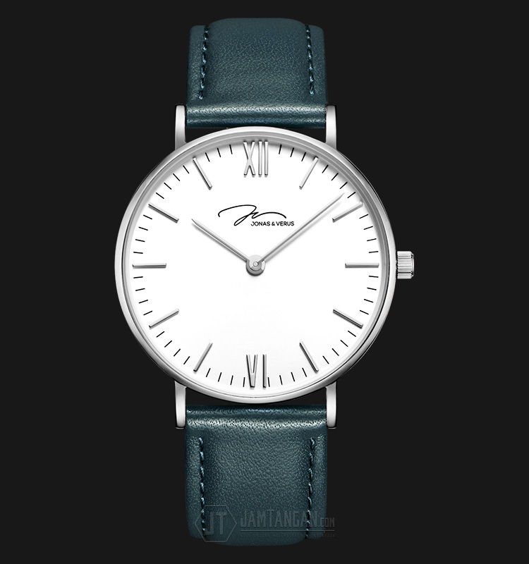 Jonas Verus Y01646-Q3.WWWLN Miyota Japan Quartz White Dial Green Leather Strap Machtwatch