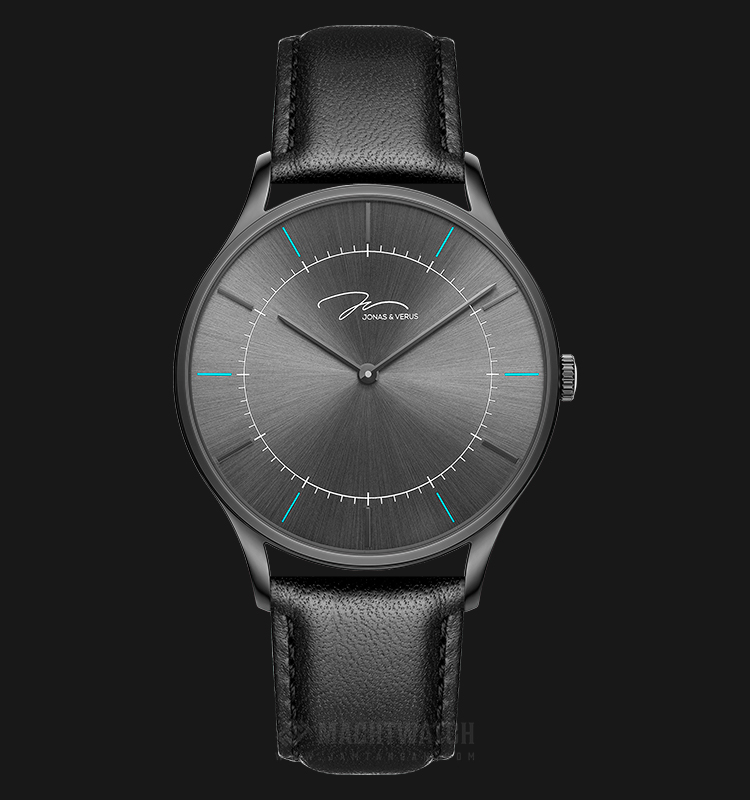 Jonas Verus Y01958-Q3.BBBLB Minimalist Collection Men Black Sunray Dial Black Leather Strap Machtwatch