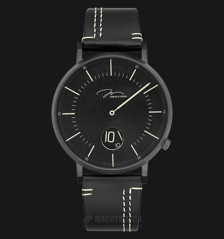 Jonas Verus Y02065-Q3.BBBLB Chivalry Collection Men Black Dial Black Leather Strap Machtwatch