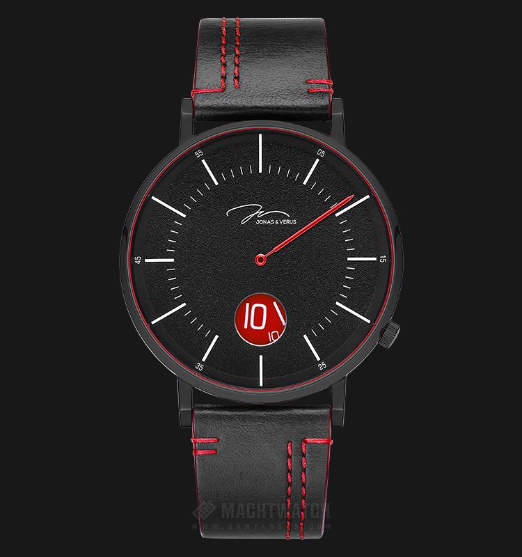 Jonas Verus Y02065-Q3.BBBLBR Chivalry Collection Men Black Dial Black Leather Strap Machtwatch
