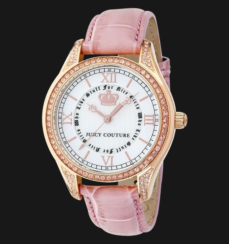 Juicy Couture 1900742 Lovely Swarovski Crystal White Dial Pink Leather Band Machtwatch