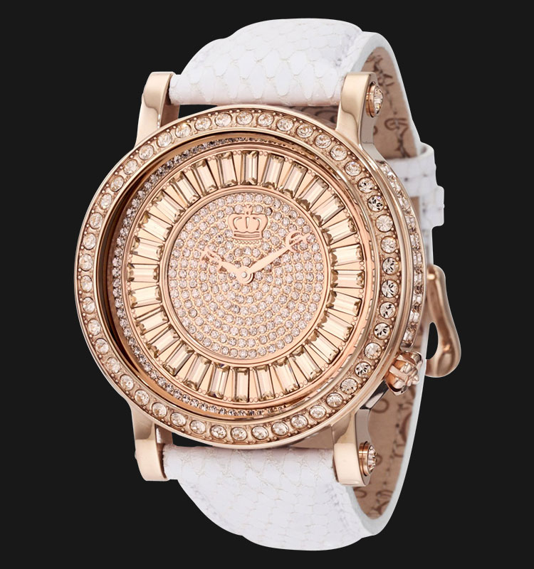 Juicy Couture 1900850 Queen Couture White Embossed Leather Strap Machtwatch