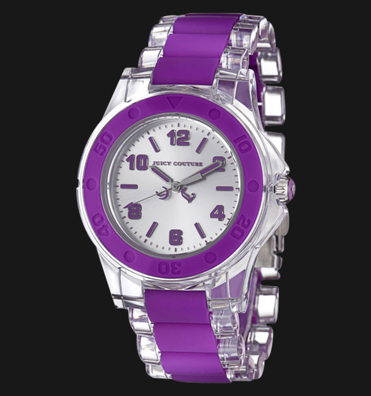 Juicy Couture 1900868 Rich Girl Clear Plastic Bracelet With Purple Silicone Machtwatch