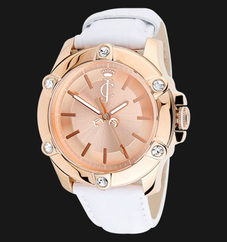 Juicy Couture 1900939 Surfside Rose Gold Case White Leather Strap Watch Machtwatch