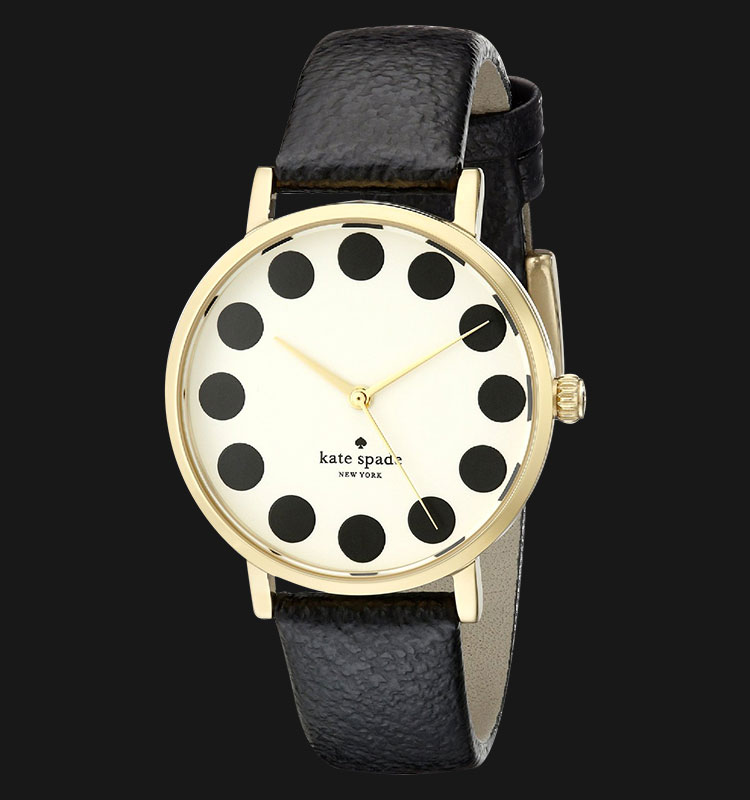 Kate Spade 1YRU0107 Black Dot Metro Watch With Black Leather Band Machtwatch