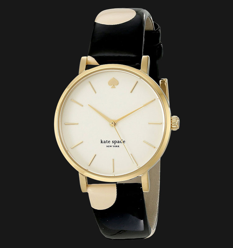 Kate Spade 1YRU0173 Metro Cream Dial Black Dot Genuine Leather Band Machtwatch