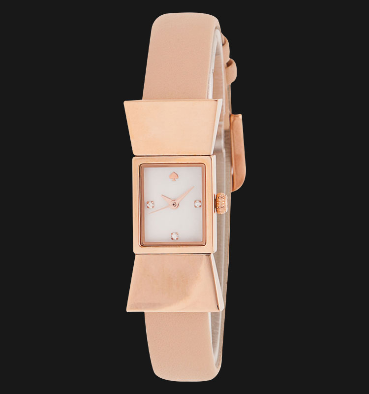 Kate Spade 1YRU0543 Carlyle Rose Gold Tone Bow Shape Bangle Leather Band Machtwatch