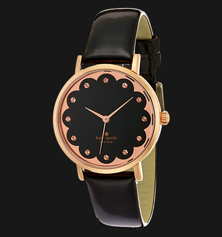 Kate Spade 1YRU0583 Scalloped Metro Black Dial Black Genuine Leather Band Machtwatch