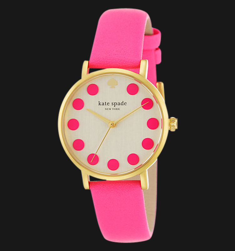 Kate Spade 1YRU0770 Bazooka Pink Dot Metro White Dial Pink Leather Band Machtwatch