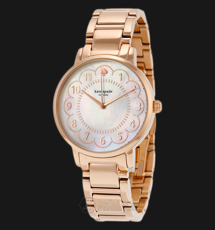 Kate Spade 1YRU0791 Gramercy Pearl Dial Rose Gold Stainless Steel Strap Watch Machtwatch