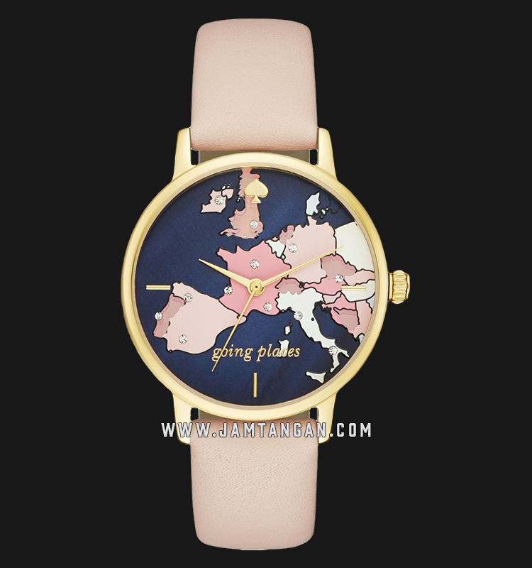 Kate Spade New York Metro KSW1139 Map Print Dial Beige Leather Strap Machtwatch