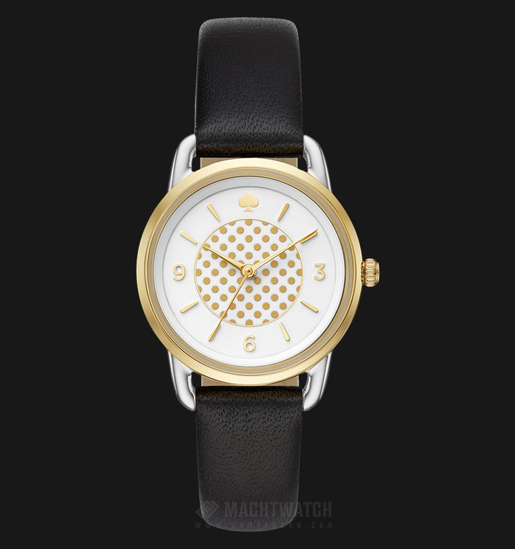 Kate Spade Boathouse White Dotted KSW1162 White Dial Black Leather Strap Machtwatch