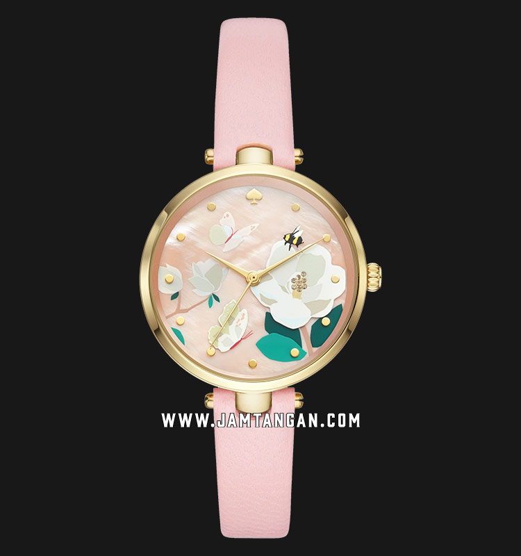 Kate Spade New York Holland KSW1413 Pink With Floral Dial Pink Leather Strap Machtwatch