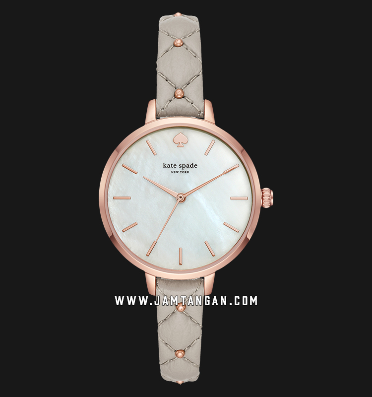 Kate Spade New York Metro KSW1470 Mother of Pearl Dial Grey Leather Strap Machtwatch