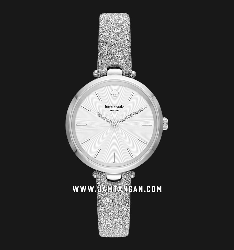 Kate Spade New York Holland KSW1475 White Dial Silver Glitter Leather Strap Machtwatch