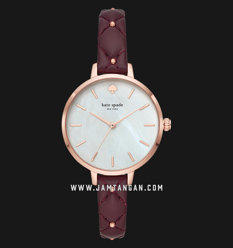 Kate Spade New York KSW1489 White Mother of Pearl Dial Brown Leather Strap Machtwatch