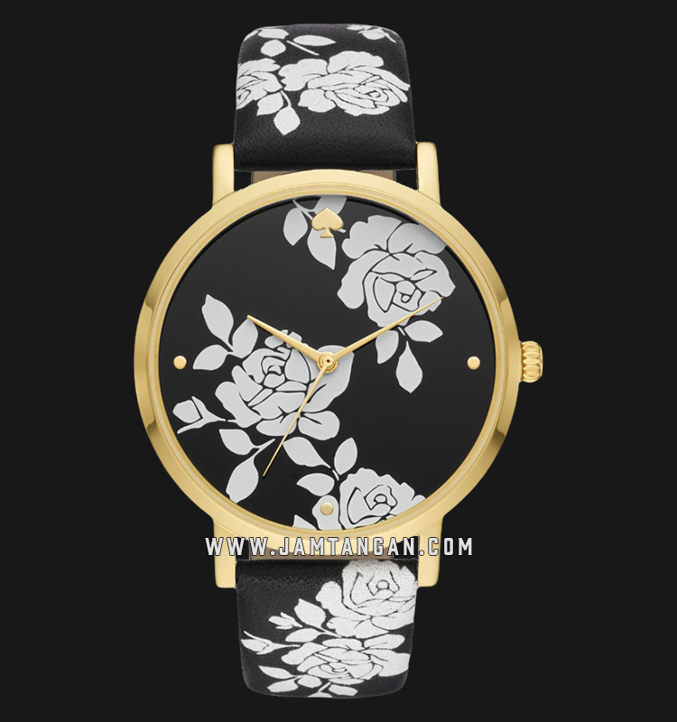 Kate Spade New York Metro KSW1498 Flowers Pattern Dial Black Leather Strap Machtwatch