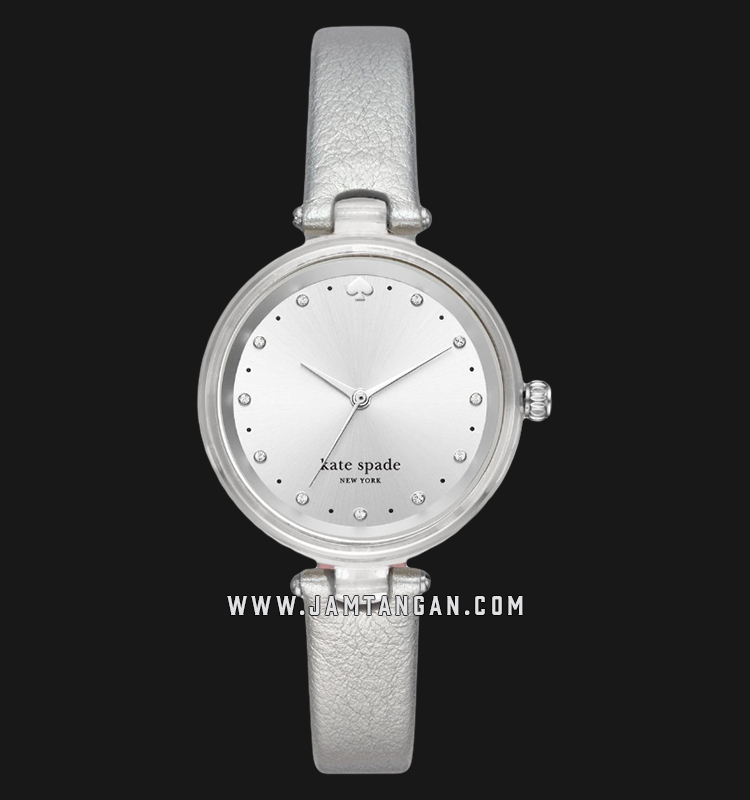 Kate Spade New York Holland KSW1516 Silver Sunray Dial Silver Leather Strap Machtwatch