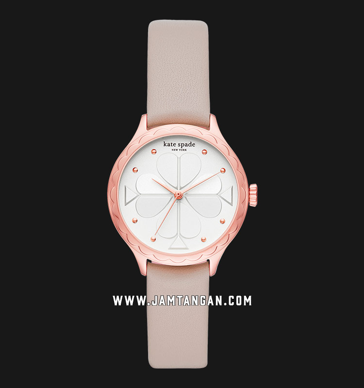 Kate Spade New York Rosebank Scallop KSW1538 White Dial Taupe Leather Strap Machtwatch