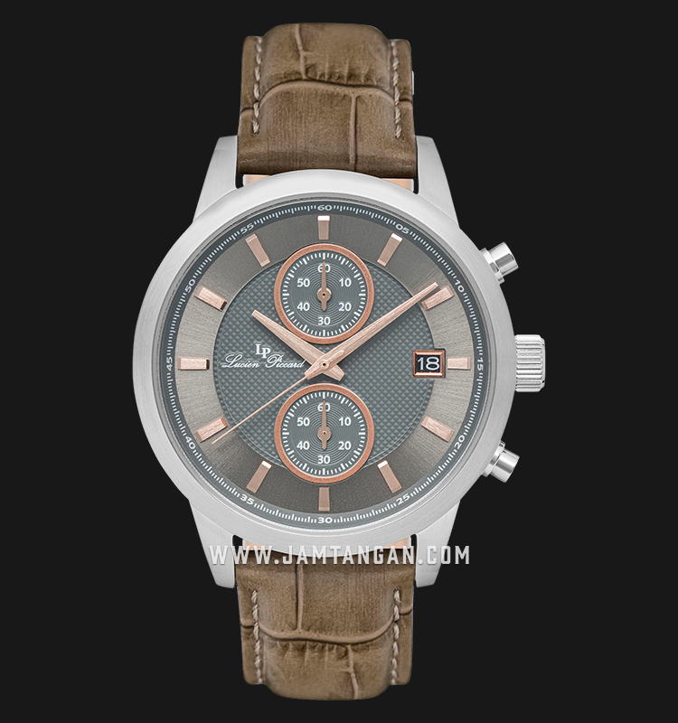 Lucien Piccard Clark LP-28003C-014RA-BRW Chronograph Grey Dial Brown Leather Strap Machtwatch