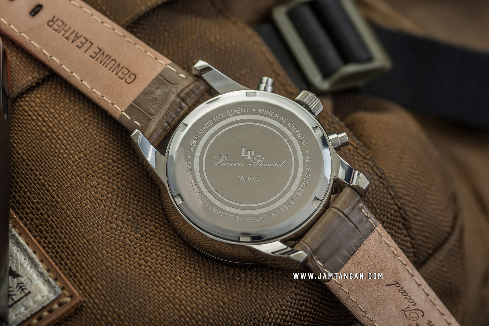 Lucien Piccard Clark LP-28003C-020-BRW Chronograph Biege Dial Brown Leather Strap Machtwatch