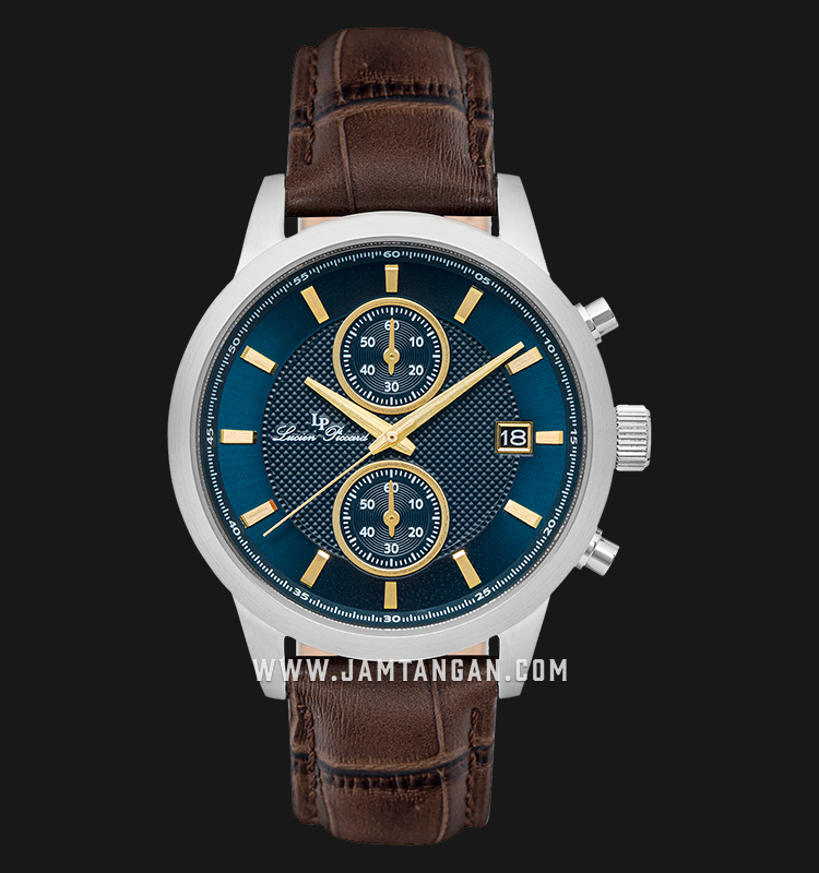 Lucien Piccard Clark LP-28003C-03-YA-BRW Chronograph Blue Dial Brown Leather Strap Machtwatch