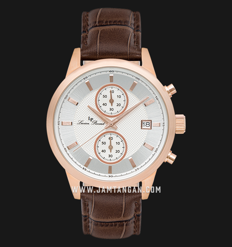 Lucien Piccard Clark LP-28003C-RG-02S-BRW Chronograph Silver Dial Brown Leather Strap Machtwatch