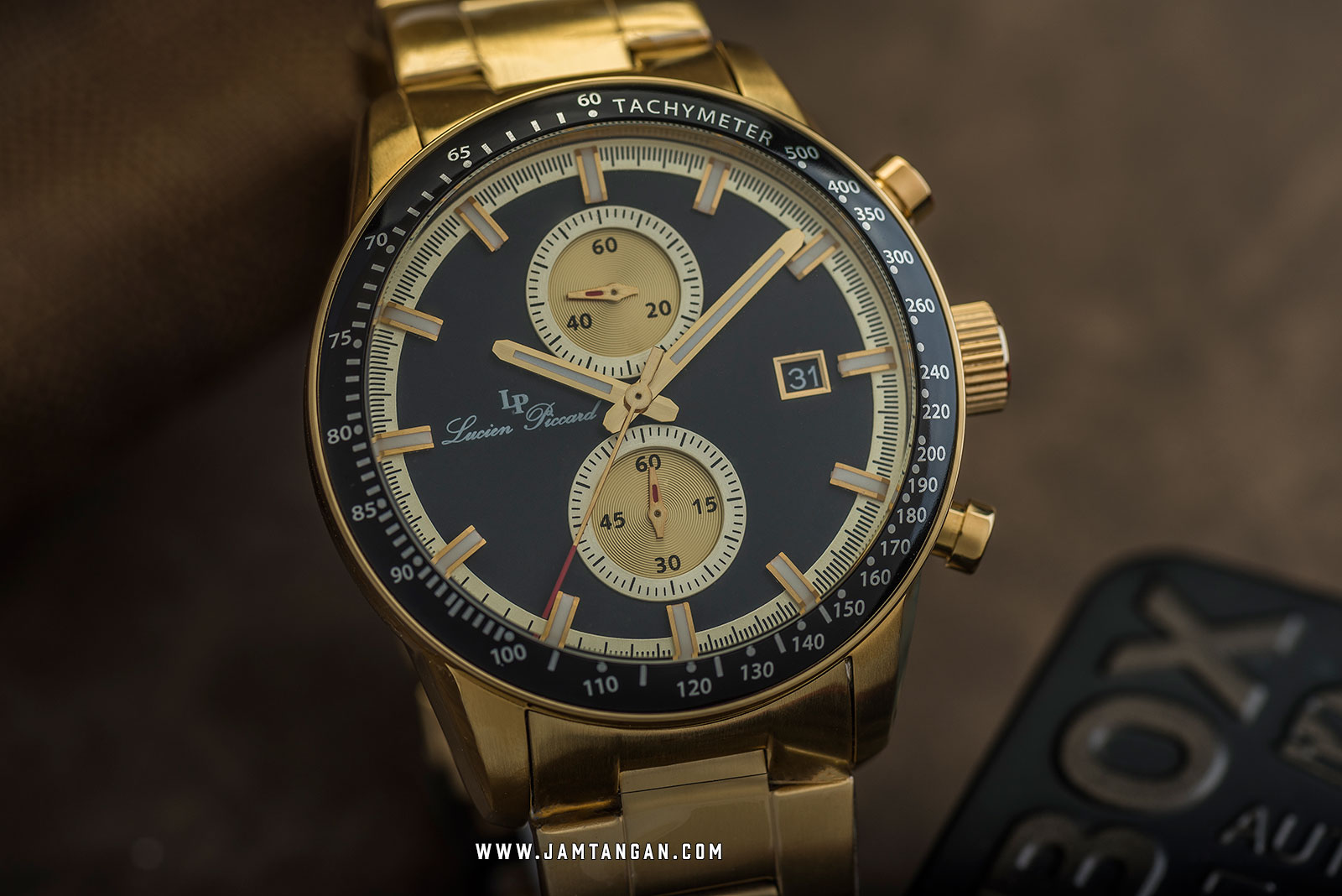 Lucien Piccard Grani LP-28004C-11-YA-GB Chronograph Black Dial Gold Stainless Steel Strap Machtwatch