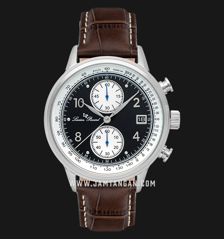 Lucien Piccard Welles LP-28006C-01-BRW Chronograph Black Dial Brown Leather Strap Machtwatch