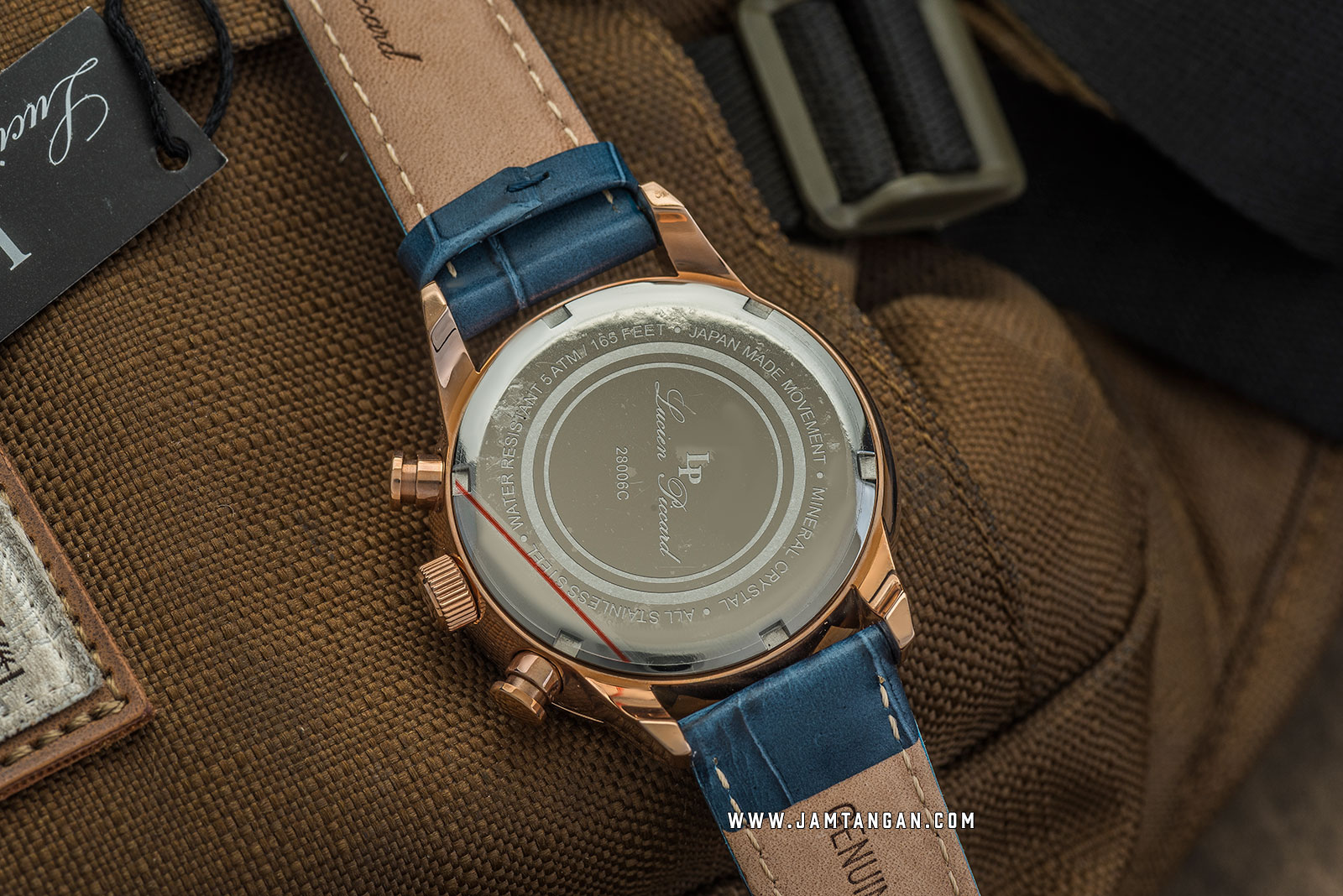 Lucien Piccard Welles LP-28006C-RG-03-BLS Chronograph Blue Dial Blue Leather Strap Machtwatch