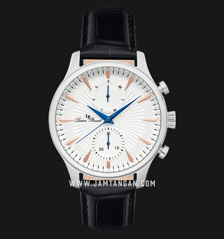 Lucien Piccard Lancaster LP-28011MF-01S-RA Chronograph White Dial Black Leather Strap Machtwatch