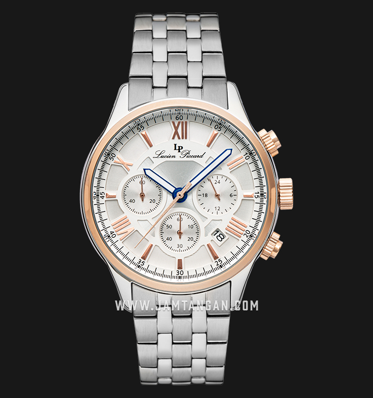 Lucien Piccard Lancaster LP-28013C-22S-RA-RB Chronograph Silver Dial Stainless Steel Strap Machtwatch