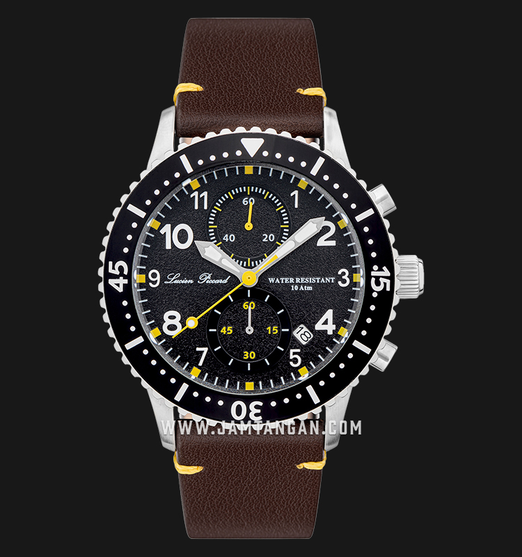 Lucien Piccard Mason LP-28015C-01-BRW Chronograph Black Dial Brown Leather Strap Machtwatch