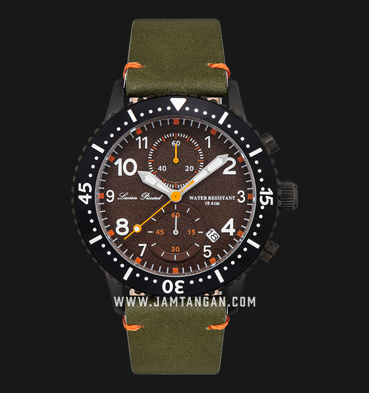 Lucien Piccard Mason LP-28015C-BB-024GRN Chronograph Brown Dial Green Olive Leather Strap Machtwatch