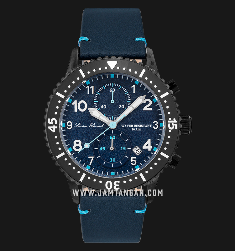 Lucien Piccard Mason LP-28015C-GM-03-BLS Chronograph Blue Dial Blue Leather Strap Machtwatch