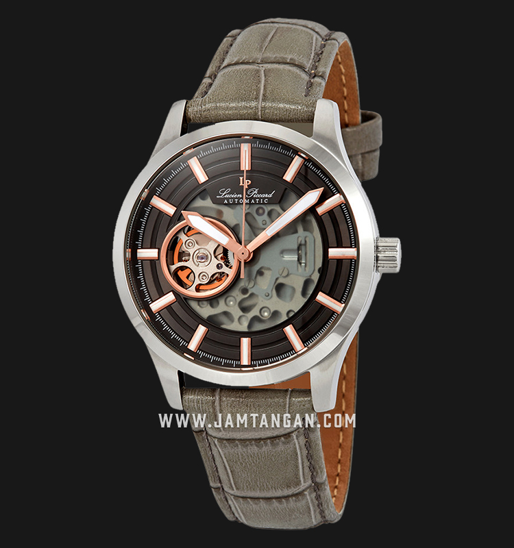 Lucien Piccard LP-28016A-01-RA Sevilla II Black Skeleton Dial Taupe Leather Strap Machtwatch