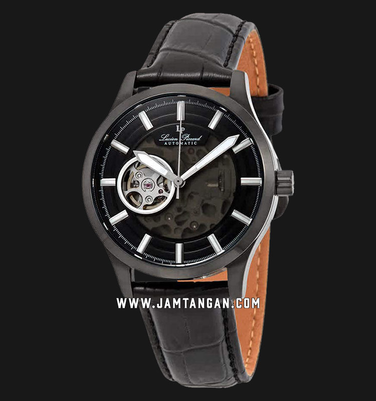 Lucien Piccard Sevilla II LP-28016A-BB-01 Automatic Skeleton Dial Black Leather Strap Machtwatch