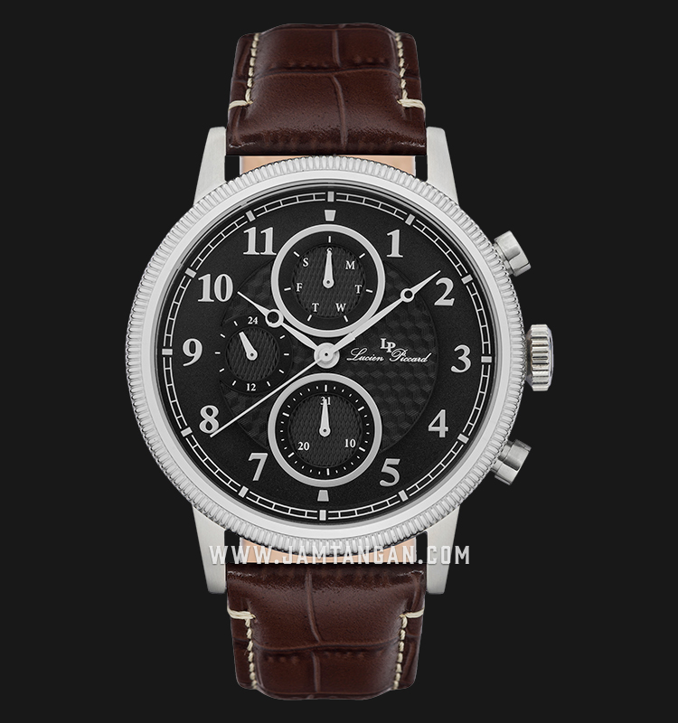 Lucien Piccard Holden LP-28017MF-01-BRW Chronograph Black Dial Brown Leather Strap Machtwatch