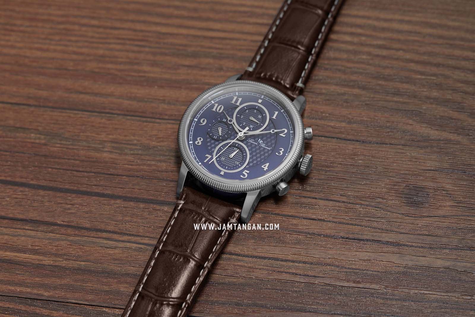 Lucien Piccard Holden LP-28017MF-03-BRW Chronograph Blue Dial Brown Leather Strap Machtwatch