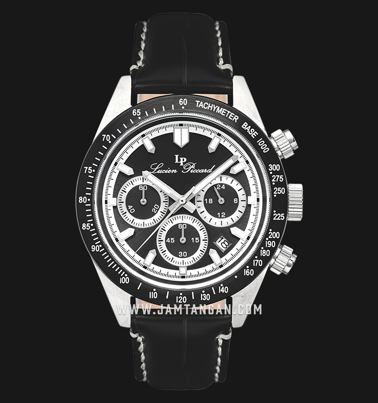 Lucien Piccard Heston LP-28018C-01-BB Chronograph Black Dial Black Leather Strap Machtwatch