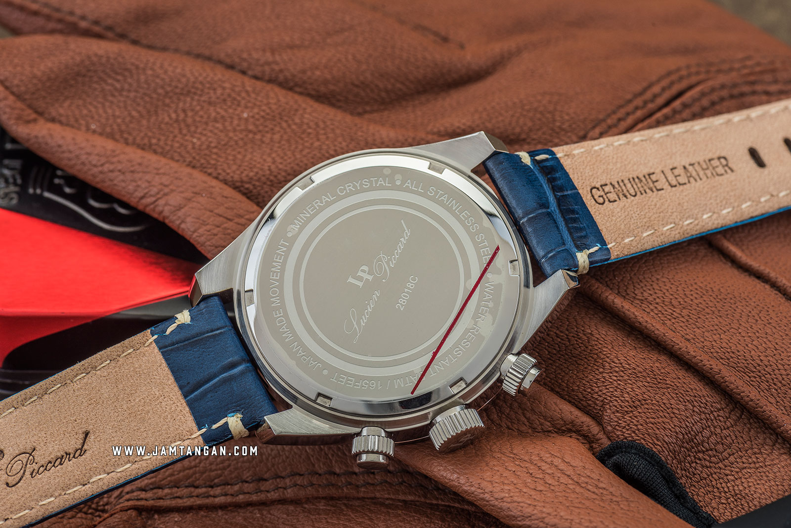 Lucien Piccard Heston LP-28018C-03-BLS Chronograph Blue Dial Blue Leather Strap Machtwatch