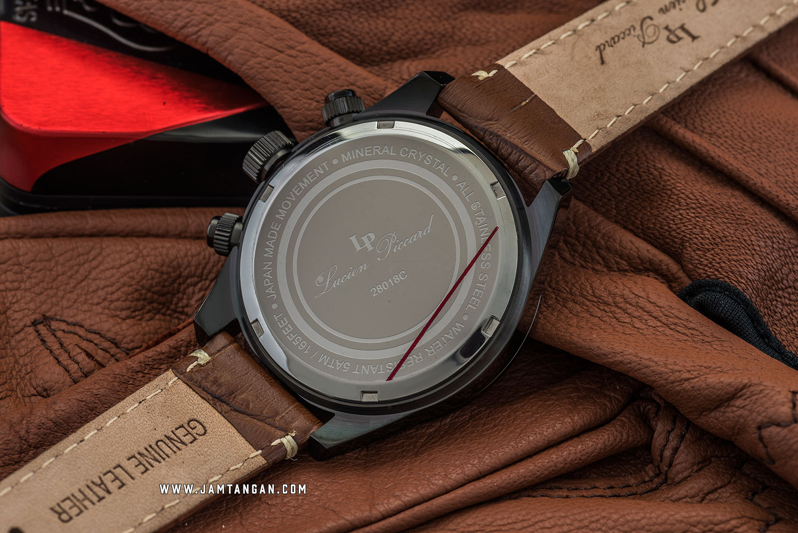 Lucien Piccard Heston LP-28018C-BB-08-BRW Chronograph Green Dial Brown Leather Strap Machtwatch
