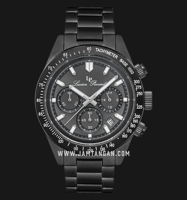 Lucien Piccard Heston LP-28018C-GM-104-BB Chronograph Black Dial Black Stainless Steel Strap Machtwatch