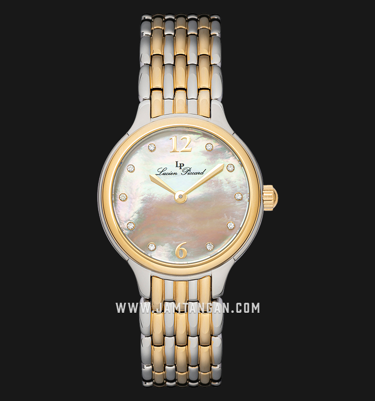 Lucien Piccard Lauren LP-28021-SG-22MOP Silver Mother of Pearl Dial Dual Tone Stainless Steel Strap Machtwatch