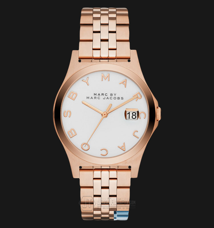 Marc Jacobs MBM3392 The Slim White Dial Rose Gold tone Ladies Watch Machtwatch