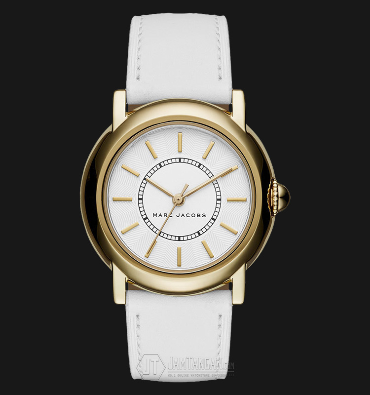 Marc Jacobs MJ1449 Courtney White Dial Gold Tone White Leather Strap Watch Machtwatch