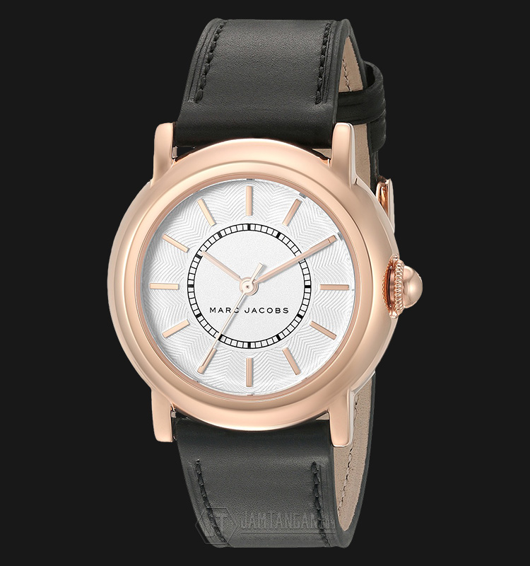 Marc Jacobs MJ1450 Courtney White Dial Rosegold Tone Black Leather Strap Watch Machtwatch