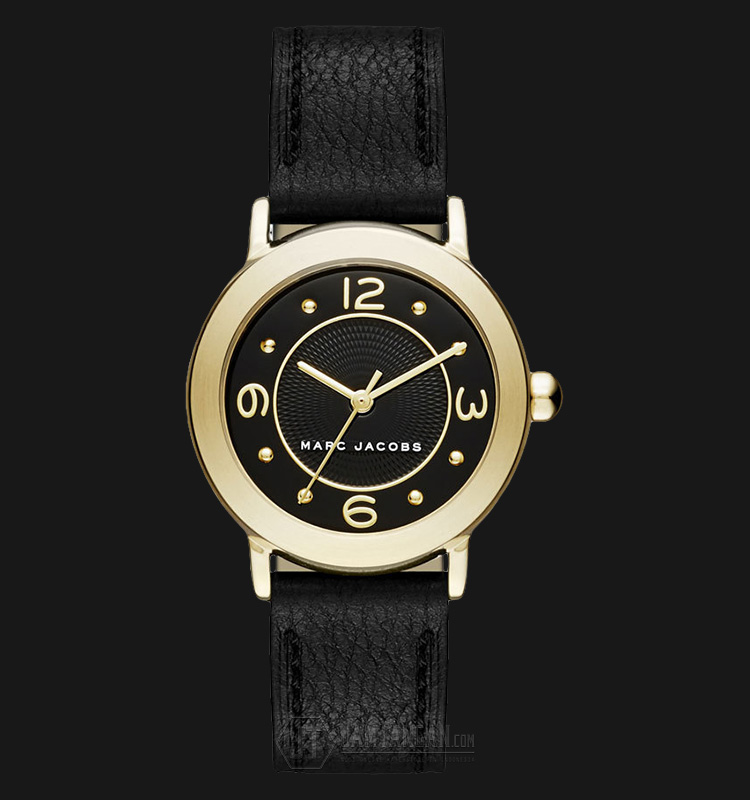 Marc Jacobs MJ1475 Riley Extension Black Dial Black Leather Strap Watch Machtwatch