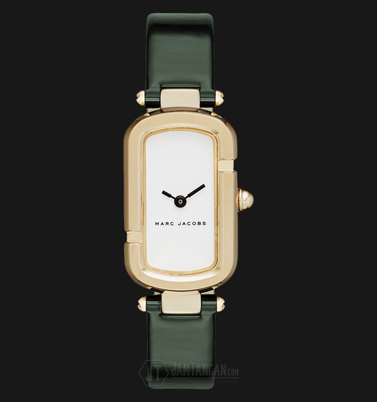 Marc Jacobs MJ1485 Monogram White Dial Green Leather Strap Watch Machtwatch