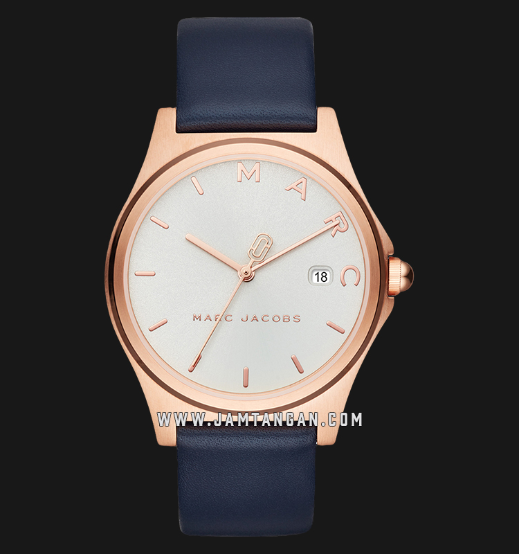 Marc Jacobs Henry MJ1609 Silver Dial Blue Leather Strap Machtwatch